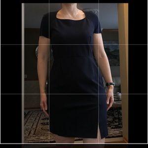 Very classic dark blue Magaschoni wool dress